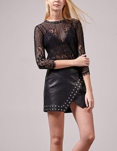 Leather look skirt with stud detail