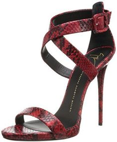 Giuseppe Zanotti Women's Snake Cross-Strap High Heel Dress Sandal on shopstyle.com
