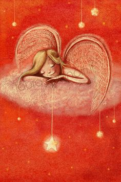 Laura Sighinolfi - Angel - digital illustration www. Monica Crema, Angel Protector, Angel Guide, I Believe In Angels, Sun And Stars, Angels In Heaven, Heavenly Angels, Angels Among Us, Star Art