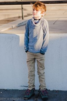 Sew for boys: Bimaa shawl collar sweater, Ottobre Tee shirt and Ottobre jeans by Sew a Straight Line