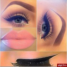The eyebrows are a bit much but I really love the color of her lipstick and the eyes are quite nice as well.