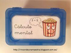 """Uno de los juegos que tengo en el """"Rincón de Matemáticas"""" es la caja de las palomitas del cálculo mental: A los niños les he expli..."""