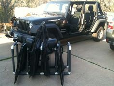 Jeep Wrangler 4 Door Rack: This is a quick door rack to keep your jeep doors safe when you are driving around doorless. Seemed like a good first instructable. Camping Jeep, Jeep Wrangler Camping, Jeep Wrangler Doors, Jeep Doors, Jeep Wrangler Rubicon, Jeep Wrangler Unlimited, Jeep Jku, Wrangler Sport, Jeep Wrangler Accessories