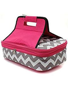 Items similar to Personalized Grey and White with Pink Chevron Casserole Insulated Carrier Make Great gifts for the Holidays. on Etsy Insulated Casserole Carrier, Grey Chevron, Gray, Serving Utensils, Cold Meals, Party Entertainment, Casserole Dishes, Thoughtful Gifts, Great Gifts