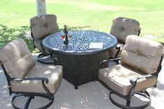 Heritage Outdoor Living Cast Aluminum Elisabeth 5pc deep seating set with 52in firepit with enclosure- Antique Bronze. 15-Year Frame Warranty - Heritage Outdoor Living products are sold through our Exclusive Amazon.com Retail Partner - Patio Import. Fully Welded, Solid Cast Aluminum Construction is 100% Rust Free!. Masterfully Crafted To Combine Comfort, Elegance, & Quality. Five Stage Powder Coated Finish is the Toughest in the Outdoor Furnishings Industry - Antique Bronze Finish. (4)...
