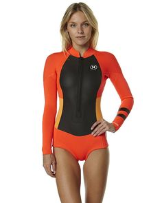 NEW-Hurley-Wetsuit-Yc-Fusion-202-Front-Zip-Spring-Suit-Steamer-Red-Surfsuits