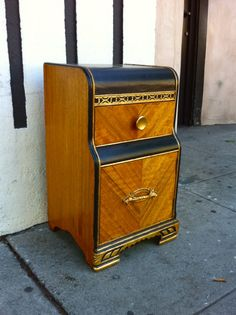art deco night stand with gold detailing For Sale | Antiques.com | Classifieds