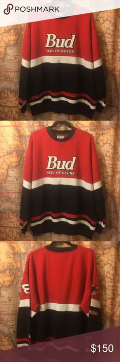 90s Crew Neck Bud SweatShirt XL Earnhardt Beer USA Amazing 90s AF sweatshirt in great condition.  I think my dad bought it at the Daytona 500!  It got too small for him and fits like a large.  So Classically 90s.  Feel free to comment any questions or request more pictures! NASCAR Sweaters Crewneck