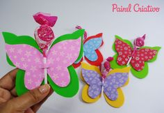 "veja 80 modelos e super passo a passo, home decor"" – Fashion and Lifestyle Foam Crafts, Diy And Crafts, Crafts For Kids, Butterfly Party, Butterfly Crafts, Diy Ostern, Minnie Mouse Party, Candy Gifts, Felt Christmas"