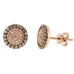 0 49ct Fancy Brown Diamond Stud Earrings 14k Pink Rose Gold