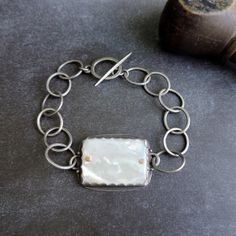 BRACELET sterling silver hand forged link by quenchmetalworks, $224.00