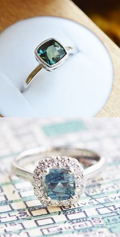 Love the uniqueness of these saphhire engagement rings//
