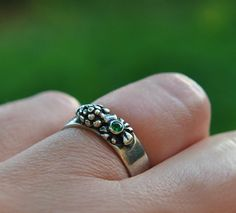 WINE ring  Sterling silver  Size 8  Unique by MySilverForest2015