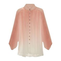 Zimmermann Chroma ombré silk-georgette blouse ($315) ❤ liked on Polyvore featuring tops, blouses, pink top, red top, pink blouse, red high neck top and dolman sleeve blouse