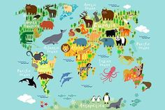 Animal map of the world for children by Moloko88 on Creative Market