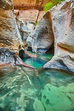 Subway pools - Zion National Park, Utah, USA Another place on my bucket list of places to visit! Places Around The World, Oh The Places You'll Go, Places To Travel, Places To Visit, Parc National, Zion National Park, Magic Places, Photos Voyages, Parcs