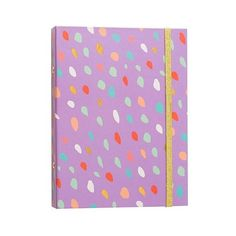 Brit + Co  Mini Binder (105 MXN) ❤ liked on Polyvore featuring home, home decor, office accessories, purple confetti, mini calendar, mini binder, personalized stickers, file binder and fabric stickers
