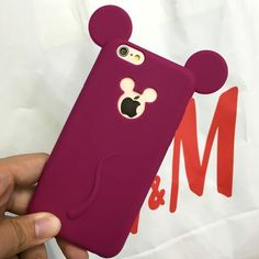 Cute Candy Colors Colorful 3D Soft Mickey Mouse Ear Silicone Cartoon Phone Case Cover for iphone 6S 6plus 7 7plus Cartoon Shell #iphone6splus,