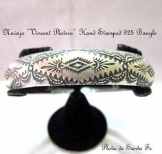"Navajo Vincent.Platero  ""One of a Kind""  Hand Stamped 925 1/2"" Wide Bangle"