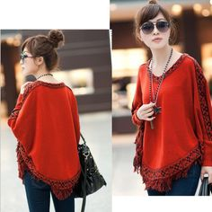 Women Batwing Sleeve Tassels Hem Cloak Poncho Tops Knitting Sweater Coat Fashion warm winter pullovers