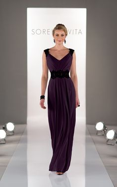 Full length plum bridesmaid dress featuring Chiffon with a ruched bodice and V-neckline by Sorella Vita. (Style 8324)