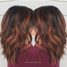 Splendid Blunt, Medium Wavy Hairstyles for Thick Hair – Red Brown Balayage The post Blunt, Medium Wavy Hairstyles for Thick Hair – Red Brown Balayage… appeared first on T ..