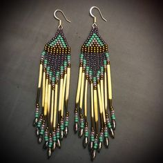 Excited to share this item from my shop: Porcupine Quill Earrings Quilling Earrings, Seed Bead Earrings, Diy Earrings, Beaded Earrings Patterns, Beading Patterns, Beading Ideas, Native American Earrings, Native American Beading, American Indian Crafts