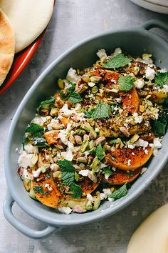 Roasted Butternut Squash and Zucchini with Whipped Feta and Pistachios | Joanne Eats Well With Others