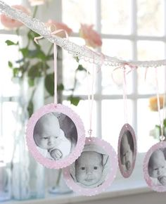 Baby photo garland but instead of lace, a small branch Christening Decorations, Christening Party, Baptism Party, Baby Party, Baptism Ideas, Dedication Ideas, Baby Dedication, Ideas Bautizo, Theme Bapteme