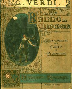 Verdi Un Ballo in maschera; milano Ricordi, anni Ottanta secolo XIX, copertina di A. Edel