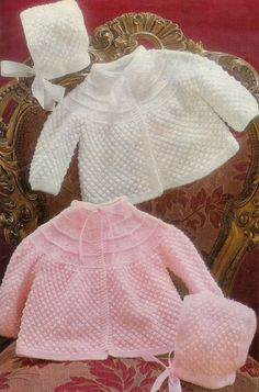 Baby 3 ply 4ply Matinee jacket & bonnet 18 19 by avintagescot