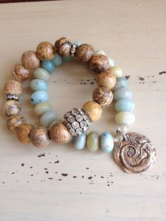 Beachy bohemian style natural organic blue brown neutral boho set stretch bronze mermaid bracelets by MarleeLovesRoxy Ocean Jewelry, Jewelry Art, Gemstone Jewelry, Beaded Jewelry, Jewlery, Handmade Jewelry, Fashion Jewelry, Love Bracelets, Stretch Bracelets