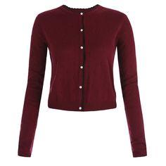 Bergman Burgundy Knitted Cardigan | Vintage Style Knitwear - Lindy Bop