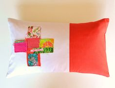 bright lumbar pillow cover  red and pink by xxxRedStitcHxxx