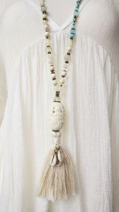 necklace bone unique OOAK white cream gems agathe glass beads silk tassel handmade boho