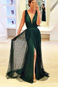 Fashion Off the Shoulder V Neck Green Lace Silt Prom Dresses Party Gowns Evening Dress LD551