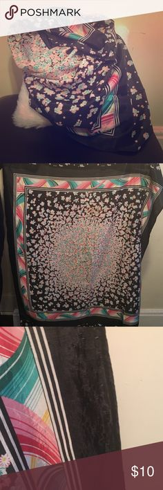 Gorgeous Black Floral Satin Scarf Beautiful and in great condition. See pictures for slight signs of wear! Accessories Scarves & Wraps