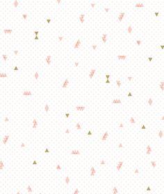 Papier peint intissé rose et doré