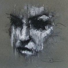 Guy denning, 1965 figurative/abstract painter art art, art s Abstract Faces, Abstract Portrait, Portrait Art, Charcoal Portraits, Charcoal Art, Charcoal Drawing, Art Folder, Modern Art Paintings, Dark Art