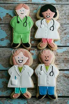 Medical Cookies~ by color me cookie, doctor, nurse, green scrubs