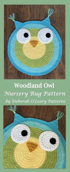 Woodland Owl Nursery Rug Pattern by Deborah O'Leary Patterns #crochet #nursery #easy #patterns
