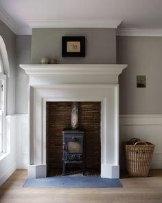 Fresh Farmhouse - mantel over wood stove