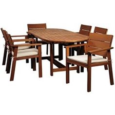 International Home Nelson 7 Piece Wood Patio Dining Set in Eucalyptus