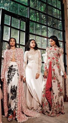 Anamika Khanna editorial for Harper's Bazaar Bride India onion the left. Length instead and skirt has layers, top is short sleeve t shirt style heavy embroidered and dupatta is wide hung over one shoulder and not to be folded India Fashion, Ethnic Fashion, Asian Fashion, Anamika Khanna, Indian Attire, Indian Wear, Indian Style, Indian Dresses, Indian Outfits