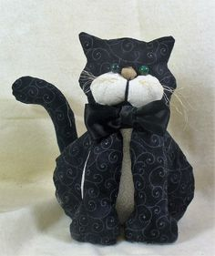 Tuxedo Cat Stuffed Animal with Black Satin Bow Tie Soft Sculpture - pinned by pin4etsy.com