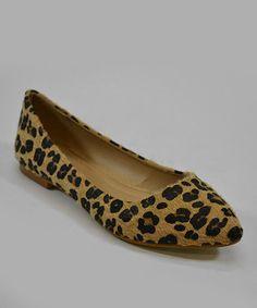Tan Leopard Funnel Flat by Lollipop Shoes  #zulily