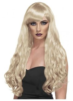 Long Blonde Curly Desire Costume Wig - Desire Wig, Blonde, Long, Curly with Fringe  Finish off your fancy dress costume with this great wig! www.thewigoutlet.com.au