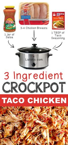 #5. 3 Ingredient Crockpot Taco Chicken | 12 Mind-Blowing Ways To Cook Meat In Your Crockpot | Listotic