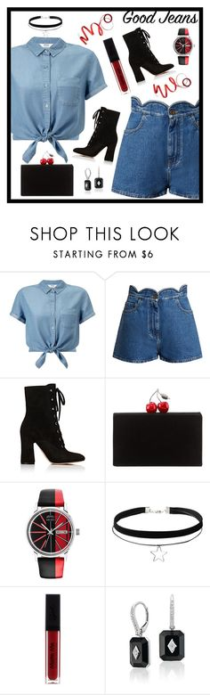 """""""good jeans♡"""" by claireven ❤ liked on Polyvore featuring Miss Selfridge, Valentino, Gianvito Rossi, Edie Parker, Kenzo and Frontgate"""