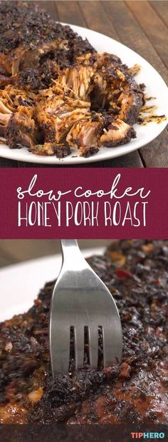 'Tis the season to pull out the slow cooker. And why not try something new with this melt in your mouth Slow Cooker Honey Pork Roast.... soooo good!  #familydinner #dinnertime #easyrecipes #fall